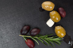 Olives background with copy space. Stock Photos