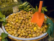 Olives in barrel Royalty Free Stock Image