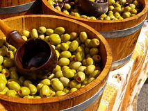 Olives in barrells ready to sell. Stock Photography