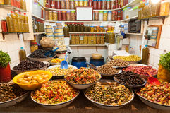 Olives and beans in the medina of Marrakesh Royalty Free Stock Images