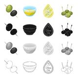 Olives, berry, fruit and other web icon in cartoon style.Industry, ingredients, butter icons in set collection. Stock Photo