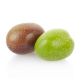 Olives black and green. On white, clipping path included Stock Photography