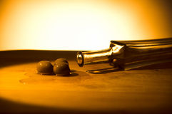 Olives with bottle and oil Royalty Free Stock Photos