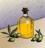 Olives and a bottle of olive oil. vector illustration