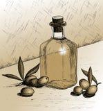 Olives and a bottle of olive oil. stock illustration