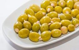 Olives bourrées de l'amande Images libres de droits