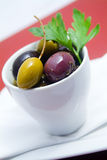 Olives in bowl Stock Photography