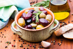 Olives in bowl Stock Images