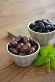 Olives in bowls Stock Photography