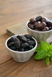 Olives in bowls Royalty Free Stock Images