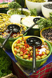 Olives in bowls in a shop Stock Image