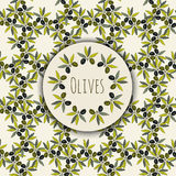 Olives branches frame and kitchen seamless pattern. Vector design for packaging, label Stock Photography
