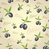 Olives. From branches on a gray background.  seamless pattern Royalty Free Stock Images