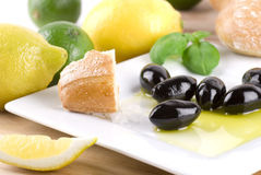 Olives And Bread Stock Photos