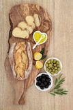 Olives and Bread Feast Royalty Free Stock Image