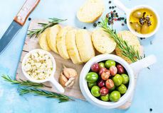 Olives and bread Stock Photography