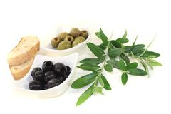 Olives with bread Royalty Free Stock Photo