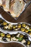 Olives with bread Stock Photos