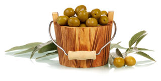 Olives in bucket Royalty Free Stock Image