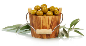 Olives in bucket Royalty Free Stock Photo