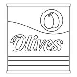 Olives can icon, outline style. Olives can icon. Outline olives can vector icon for web design isolated on white background Royalty Free Stock Photo