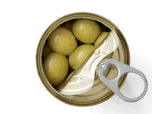 Olives can open Stock Photos