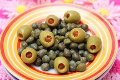 Olives and capers Royalty Free Stock Photos