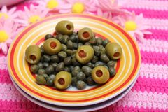 Olives and capers Royalty Free Stock Photography