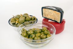 Olives and cheese Royalty Free Stock Photo