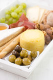 Olives with cheese Stock Images