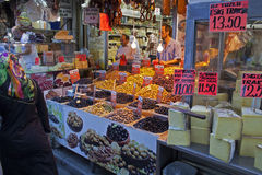Olives and cheese shop Royalty Free Stock Image