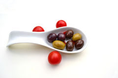 Olives with cherry tomatoes Royalty Free Stock Photos