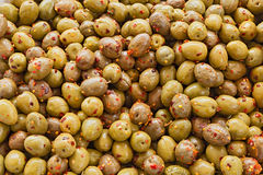 Olives with chili pepper Stock Images