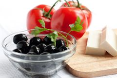 Olives in a clear salad bowl Stock Images
