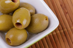 Olives. Close Up Pitted Green Olives Royalty Free Stock Photo