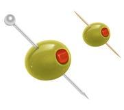 Olives on cocktail sticks. Illustration of olives on cocktail sticks Royalty Free Stock Photography