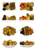 Olives Collage. Collage of some types of snacks of olives and pickles Royalty Free Stock Photos