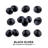 Black olives isolated on white background with clipping path. Collection Royalty Free Stock Image
