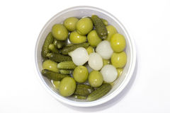 Olives, conserves au vinaigre et ciboulette Photos libres de droits