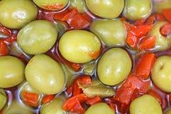 Olives dénoyautées par vue proche Images stock