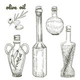 Oil bottles hand drawn sketch isolated on white background. Olives and different bottles shapes illustration for your design Stock Photo