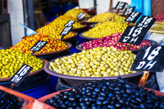 Olives. Different colors of olives in open-air market Royalty Free Stock Photo