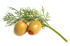 Olives with dill Stock Photo