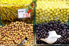 Olives on display Royalty Free Stock Photo