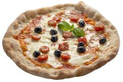 Olives et basilic de tomates de mozzarella de pizza Images stock