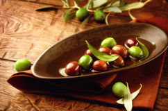 Olives et huile d'olive Photos stock