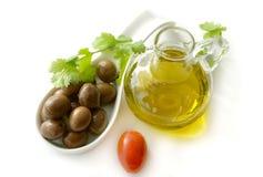 Olives et huile d'olive Photo stock