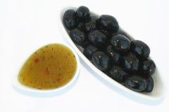 Olives et sauce Photo stock