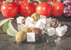 Olives and feta cheese Royalty Free Stock Image