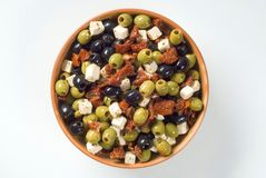 Olives with feta and dried tomatoes Stock Photo